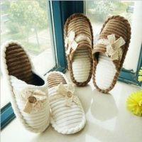 韩国 简约蝴蝶结家居拖鞋 室内地板拖鞋 蕾丝秋冬女士棉拖鞋