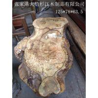 供应黄金樟根雕鱼形茶台 巴花家具 巴花大板