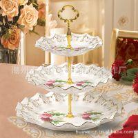 厂家供应欧式描金贴花三层水果盘时尚创意多层陶瓷盘果盘点心盘