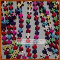 天然绿松石/15mm十字斧头形饰品配件/彩色diy隔珠散珠子材料批发