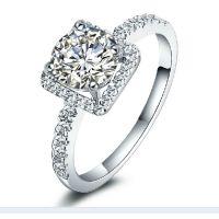 S925纯银高端定制18K白金首饰克拉钻石女戒指方形镶钻奢华钻戒