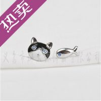 925纯银 猫吃鱼耳钉