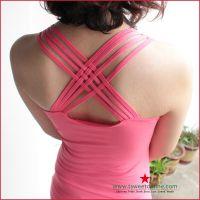 T28 beixin 后背交叉背心 女 性感露背 竹炭纤维背心打底衫 显瘦