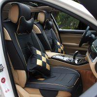 皮革格子汽车坐垫四季通用 豪华优质竹炭皮厂家直销批发