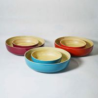 巨匠厂家定制高档日式环保彩色竹碗沙拉碗水果盘