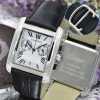 高档瑞士男士腕表 休闲商务皮带方形手表 石英多功能计时手表批发