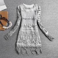 2014冬季韩版加厚蕾丝毛线拼接中长款修身中长款打底衫