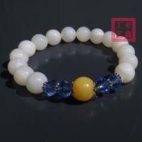 天然玉化砗磲配水晶珠黄砗磲手串女式新饰品批发