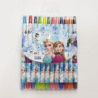 创意卡通迪士尼FROZEN蜡笔冰雪奇缘12色超长旋转蜡笔 耐用环保型