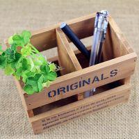 zakka杂货 仿古实木做旧木盒 两格木盒笔筒 复古木质收纳盒批发