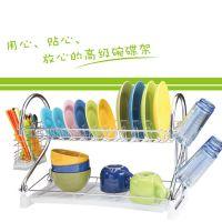 特价 厨房置物架 2字 沥水碗碟架  碗架双层 CQ1003 不锈钢材质
