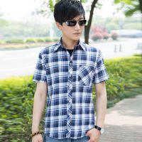 供应格子衬衫批发男式衬衫-热批万件精品纯棉男式短袖衬衫格子衬衣