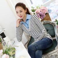 秋季新款韩版条纹拼接假两件长袖T恤打底衫
