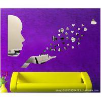 客厅卧室沙发电视背景墙装饰镜人吹星星立体镜面贴速卖通厂家