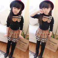 卡哇伊A 韩版时尚儿童拉绒打底衫 女童裙套装