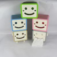 创意家居方形塑料抽纸筒 卡通造型笑脸创意纸巾盒 餐巾纸盒