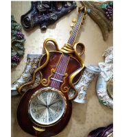 2015欧式风树脂品挂件 创意时尚小提琴时钟挂件  厂家直销