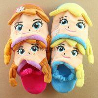 冰雪奇缘安娜艾莎公主卡通毛绒面室内家居拖鞋毛毛拖鞋泡沫防滑底