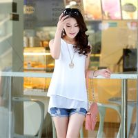 新款韩版雪纺衫大码女装宽松圆领无袖打底衫 j019