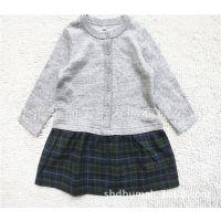 品牌童装 日单中童扣子款长袖童连衣裙 拼格布纯棉女童连衣裙
