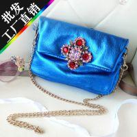 2015外贸出口韩国时尚女式小包头层牛皮金属色闪亮潮女迷你小挎包