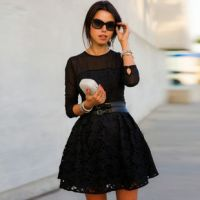 速卖通热卖女秋冬新款性感修身显瘦蕾丝连衣裙明星同款蓬蓬裙