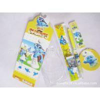 5in1卡通蓝精灵文具礼品套装 5件庄学习用品套装 奖品礼包