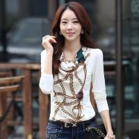 厂家直销 秋季新款打底衫 韩版修身印花长袖圆领女T恤