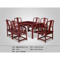 檀雕休闲明式长方桌-红酸枝方桌-百家红木-老红木方桌-老挝黑酸枝