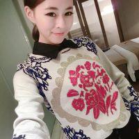 2014秋装新款女装 欧美青花瓷图腾花纹针织衫套头长袖打底衫毛衣