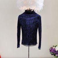 2014定制修身压褶金丝刺绣亮片假两件套高领打底衫上衣女