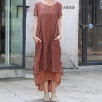 例外风格原创亚麻长裙大码棉麻女装 两件套装连衣裙文艺气质夏