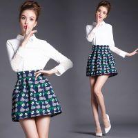 实拍)5816#秋冬新款蕾丝上衣长袖POLO领雪纺衫打底衫套装裙