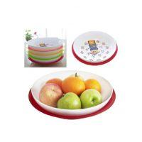 厂家批发创意彩色果盘 圆形多层双水果盘 多功能塑料果盘