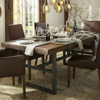美式乡村铁艺复古餐桌 LOFT仿古做旧实木桌子 餐厅桌 办公桌批发