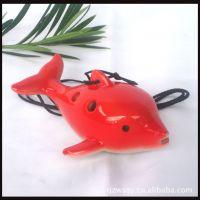 厂家供应六孔欣欣陶笛批发 红色海豚陶瓷吹奏乐器贴身音乐宝贝