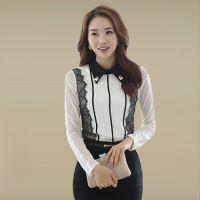 2014秋季新款韩版女装大码修身蕾丝拼接网纱绣花翻领长袖打底衫