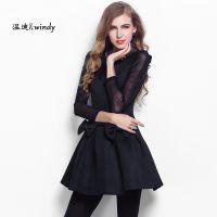 2014新款女装 红黑双色欧美品牌连衣裙 原创腰部大蝴蝶装饰连衣裙