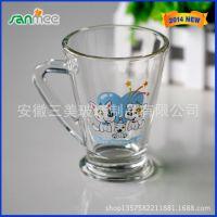 蚌埠工厂供应烤花促销玻璃杯 礼品专用玻璃把杯