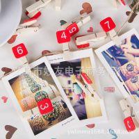 韩版数字木夹 创意木质照片夹