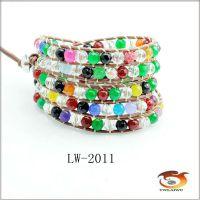 混合水晶石头LUU手链 缠绕手链 皮革串珠手链 厂家直销