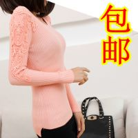 2014秋冬新款韩版修身蕾丝套头针织衫厚打底衫 中长款毛衣