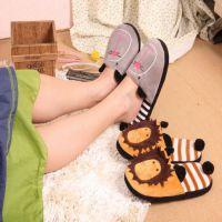 秋冬 韩版超人气可爱卡通狮子条纹 家居毛绒地板拖 情侣保暖拖鞋