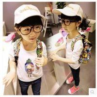 2014款可爱小女孩印花长袖T恤 女童打底衫