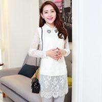 供应蕾丝衫 女式2014新款 潮 韩版 中长款蕾丝翻领钉珠 打底衫1503
