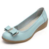 韩国女鞋批发 2014秋季新款女式单鞋 时尚蝴蝶结浅口坡跟女式单鞋