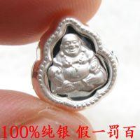 99纯银配件批发 弥勒佛吊坠 项链手链佛珠项坠挂件 3D银饰隔珠子