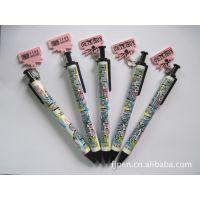 供应可定色可滚花带卡通挂件 热销日本韩国卡通广告笔 对笔