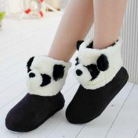 冬季毛绒包跟靴子保暖靴家居靴棉靴可爱熊猫短靴软底保暖鞋棉拖鞋
