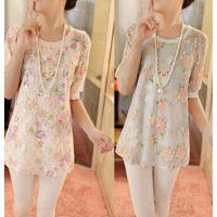 供应新款韩版雪纺衫中袖圆领蕾丝衫中长款打底衫